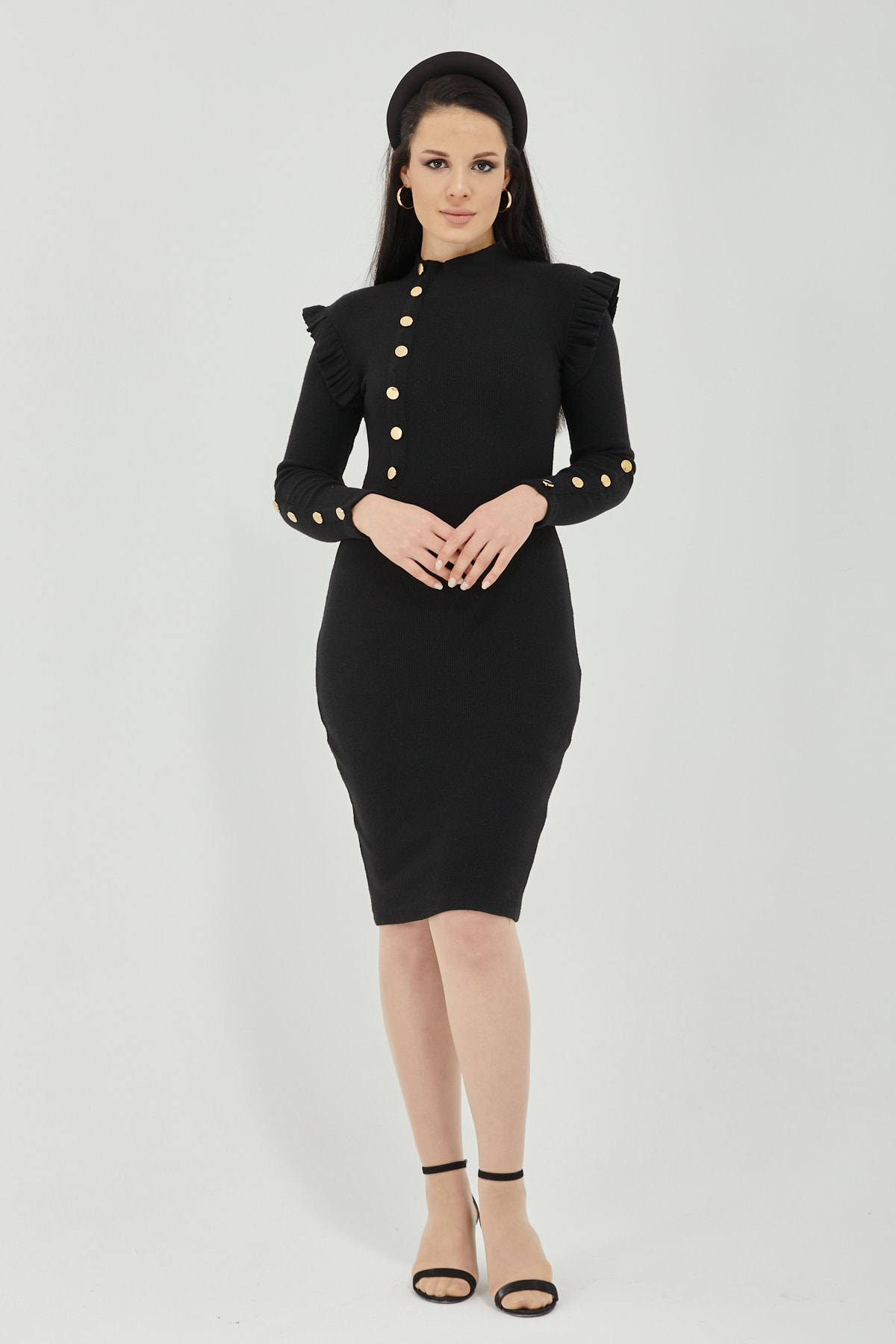 Qupa Butik Düğme Detaylı Prenses Omuz Kaşkorse Elbise 2