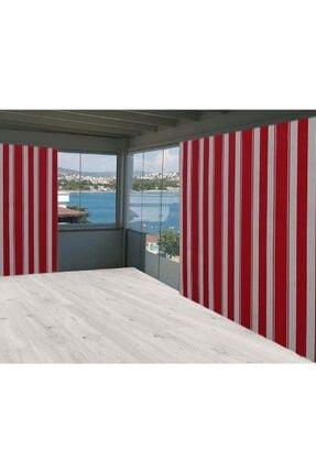 Evim Kırmızı Çizgili 825/200 Balkon Perdesi Brandası