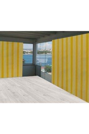 Evim Sarı Beyaz Çizgili Balkon Branda Perdesi 375/250