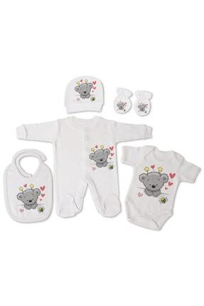 incilibaby Bebek Beyaz Uzun Kollu Tulum Ve Kısa Kollu Body