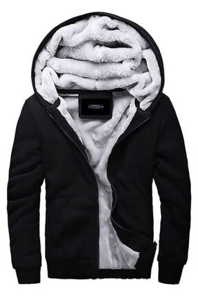Madmext Erkek Siyah Kapüşonlu Sweatshirt