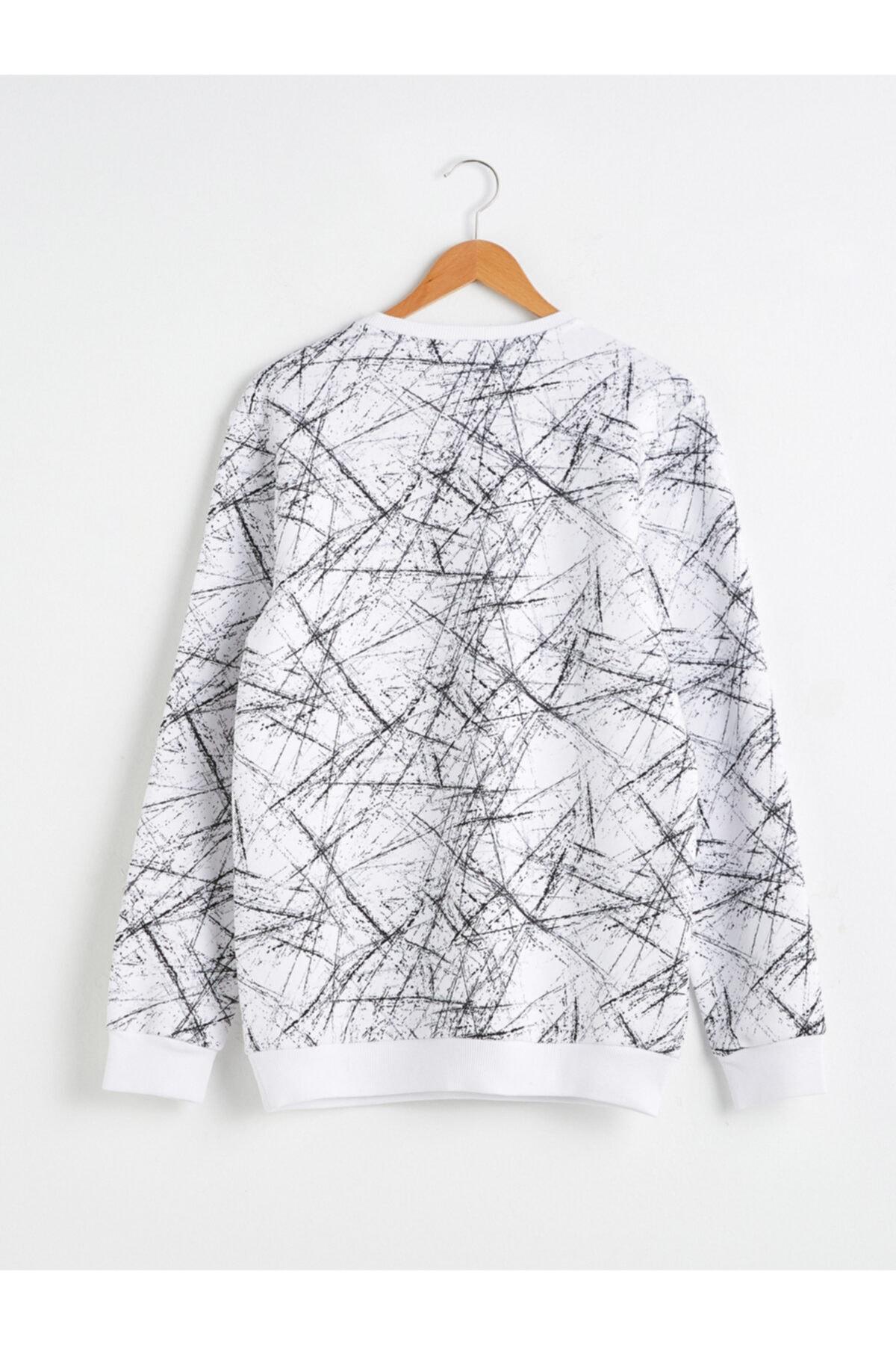 LC Waikiki Erkek Beyaz Baskılı Sweatshirt 2