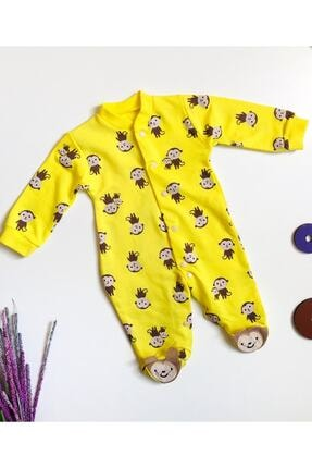 Murat Baby Run Baby Maymun Baskılı Sarı Bebe Tulum