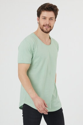 Tarz Cool Erkek Su Yeşili Pis Yaka Salaş T-shirt