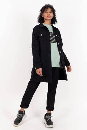 Loreen Kadın Siyah Uzun Kot Ceket 20y 25066