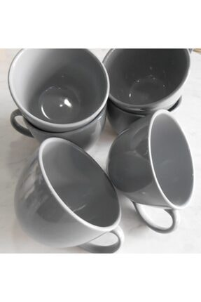 Keramika 6 lı Gri Jumbo Kupa