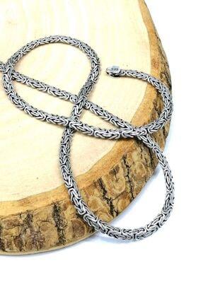 Omar Erkek Silver Kral Ezme Yassı 925 Ayar Gümüş Zincir