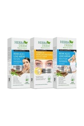 Herbaderm Renk Açıcı Leke Vücut Kremi + Torba Ve Morluklara Karşı + Renk Açıcı Leke Yüz Kremi 3' Lü