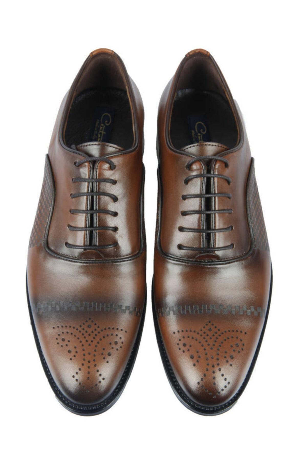 Centone Erkek Kahverengi Deri Klasik Ayakkabı 18-5052 1