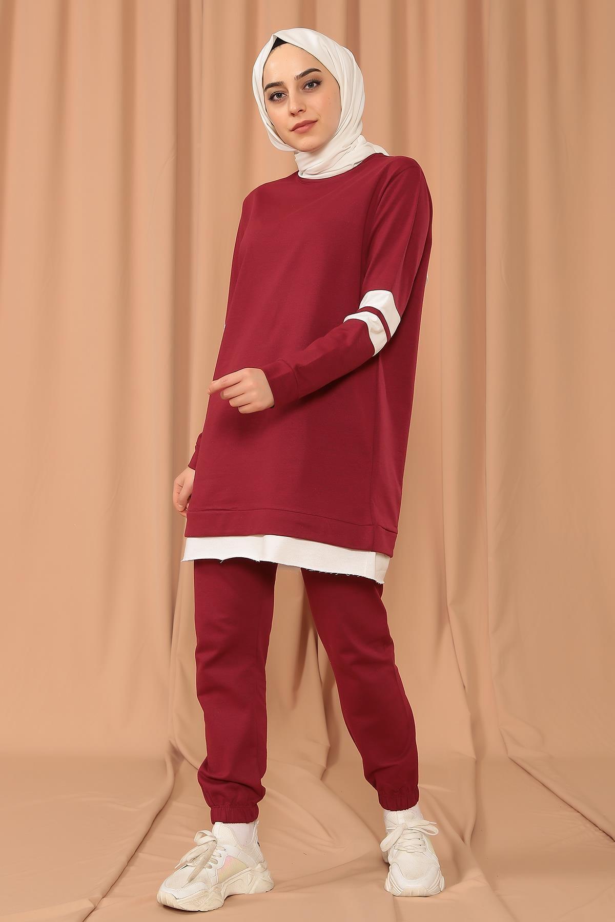 MODA GÜLAY Kolları Şeritli Salaş Pantalonlu Takım 2