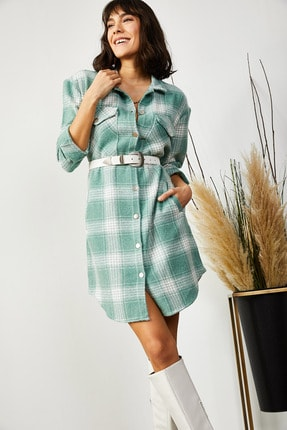 Olalook Kadın Mint Yeşili Cepli Ekose Kaşe Tunik Elbise ELB-19001337