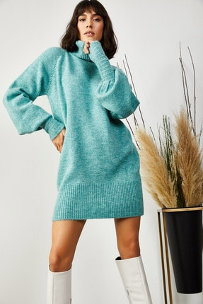 Olalook Kadın Mint Yeşili Balıkçı Yaka Balon Kol Salaş Triko Elbise ELB-19000867