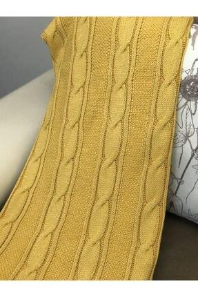 Ocean Sarı Saç Örgülü Triko Koltuk Battaniye