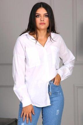Madmext Kadın Beyaz Cepli Uzun Gömlek Mg691