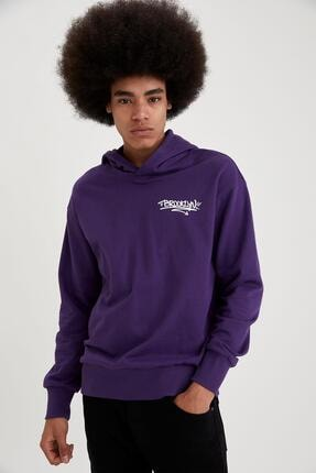 DeFacto Erkek Mor Oversize Fit Sırtı Baskılı Kapüşonlu Sweatshirt