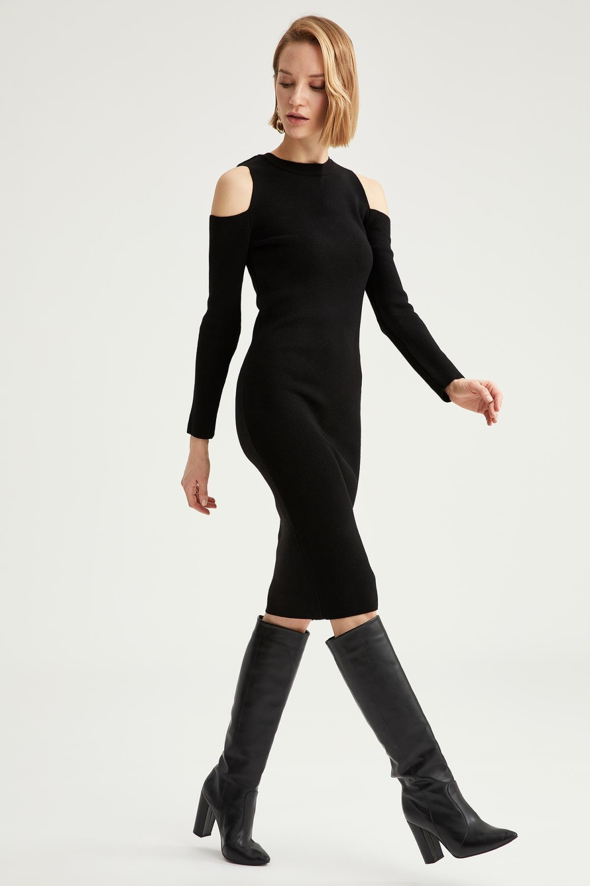 DeFacto Kadın Siyah Omuz Dekolteli Triko Elbise 1