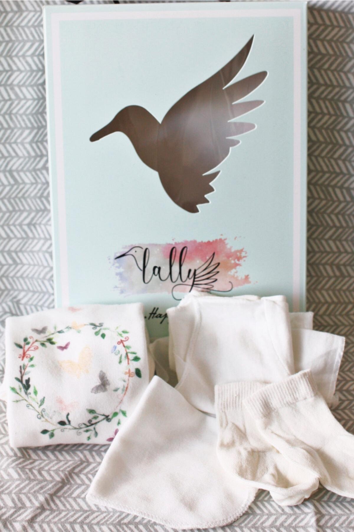 Lally Things Kız Bebek Beyaz Yenidoğan Kelebek Zıbın Set 2