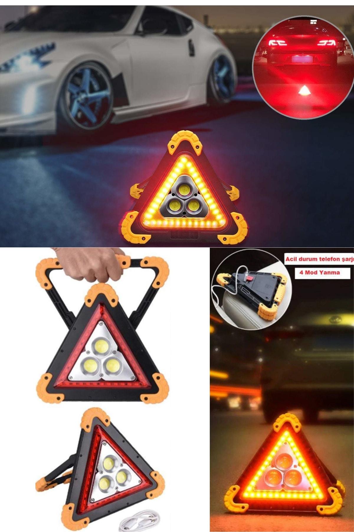 QNİAY Reflektör Usb-akıllı Şarj Işıklı Ikaz Lambası 3 Ledli Fener Trafik Acil Durum Kamp 1