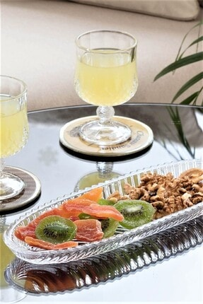 SihirliCam Balıksırtı Motifli Cam Oval Salata Meyve Çerez Servis Sunum Tabağı, Dekoratif Cam Sunumluk