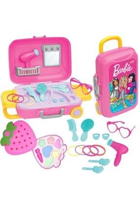 DEDE Barbie Oyuncak Güzellik Set Bavulum+Sürülebilir Çocuk Çilek Makyaj Seti