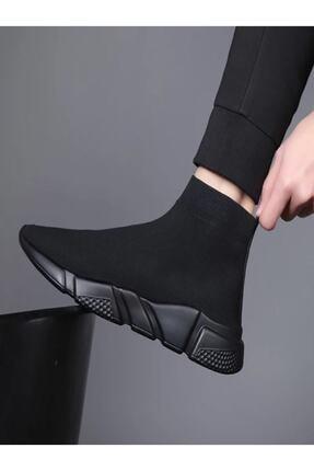 POLENS Unisex Siyah Çoraplı Yüksek Taban Sneakers Ayakkabı