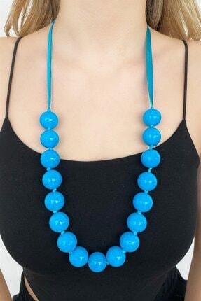 TAKIŞTIR Kadın Mavi Özel Tasarım Mavi Renk Boncuk Detaylı Kolye