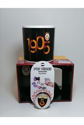 Galatasaray Lisanslı Seramik Kupası Sarı Kırmızı & Pop Socket