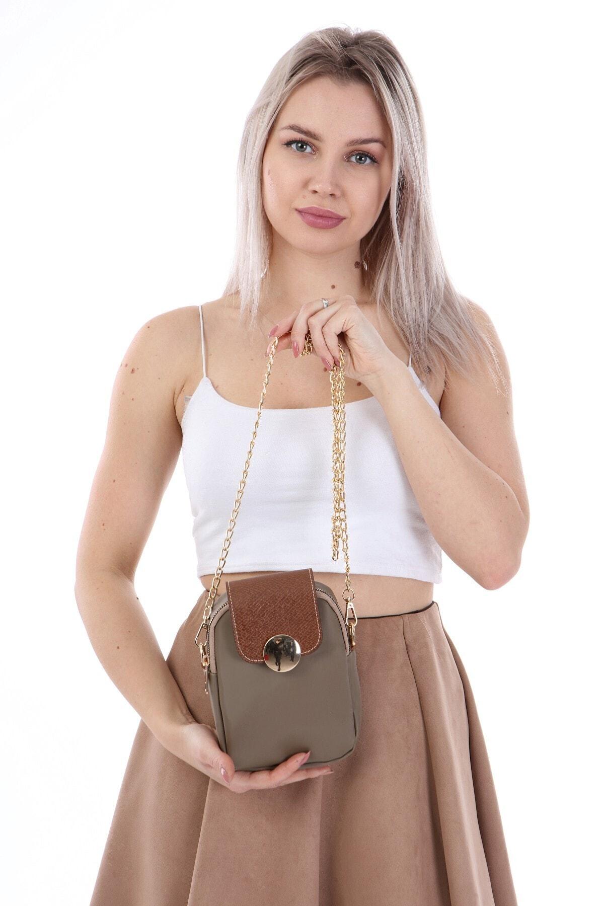 ELASİNYA Kadın Vizon Telefon Bölmeli Omuz Çantası 0012 1