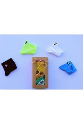 Adel Gülen Yüz Emoji Çorap 4 'lü Set