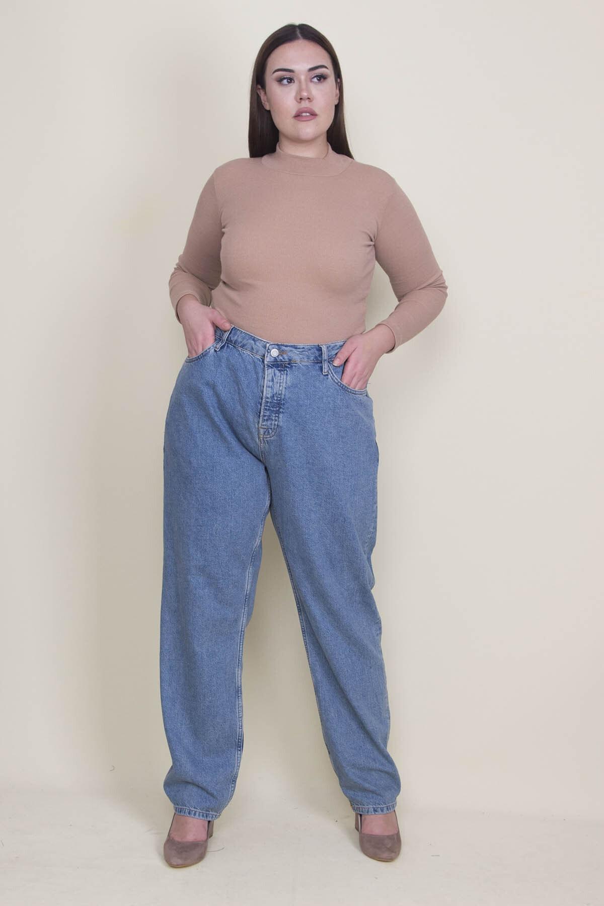 Şans Kadın Mavi Rahat Kesim 5 Cepli Kot Pantolon 65N21309 2
