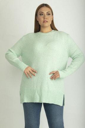 Şans Kadın Yeşil Yırtmaçlı Triko Kazak 65N21233