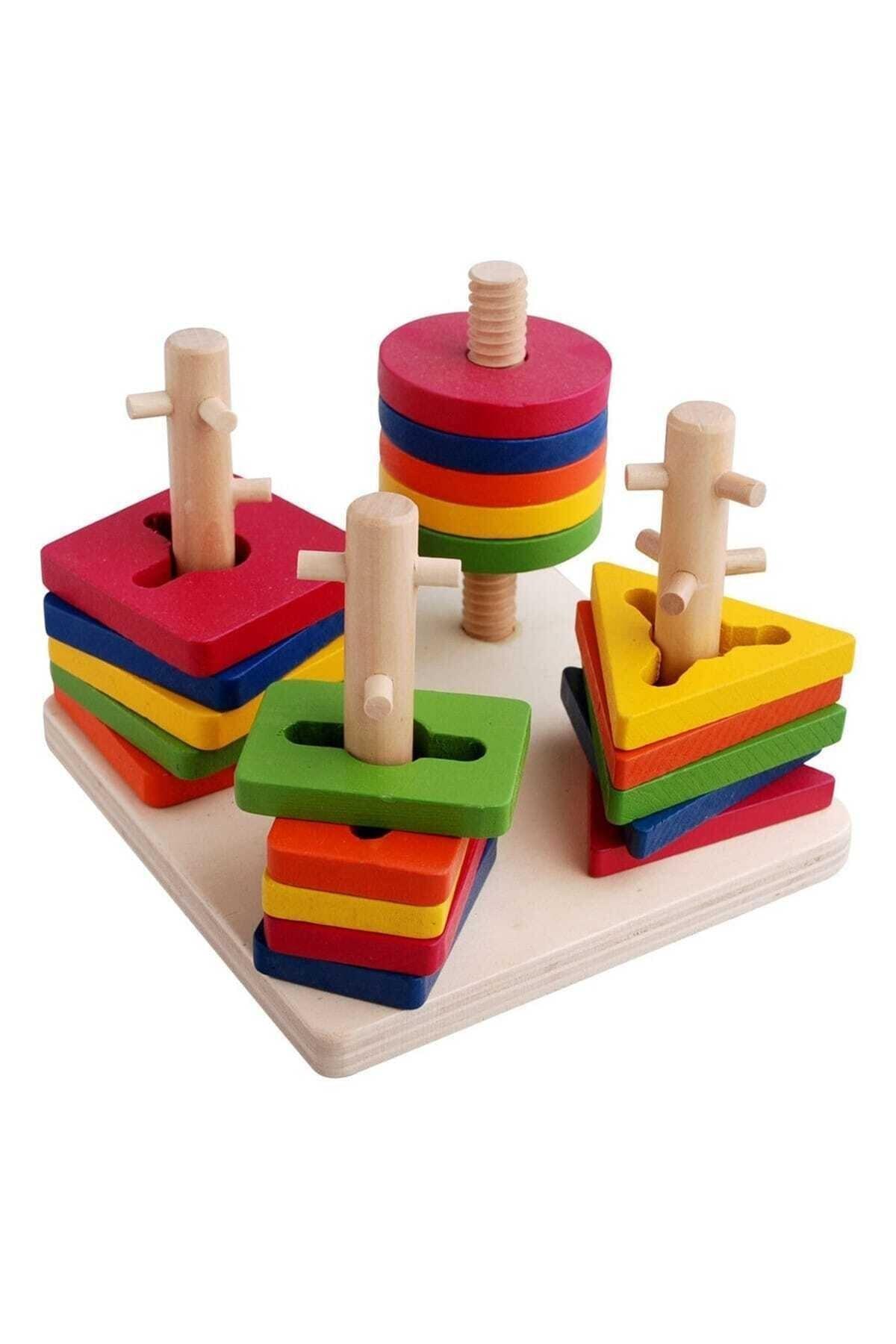 WoddyWood Eğitici Ahşap Oyuncak 4'lü Geometrik Bultak Vidalama Oyunu 1