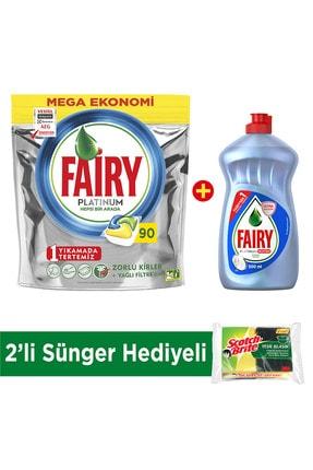 Fairy Platinum 90 Yıkama Bulaşık Tableti Limon Kokulu + Platinum Hijyen 500 ml Sıvı Limon + Sünger
