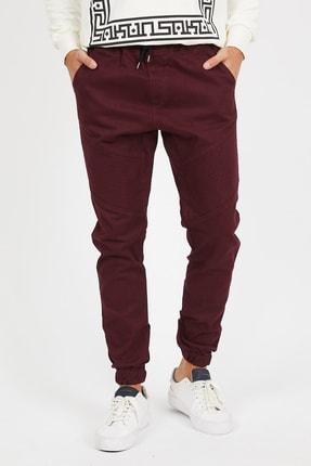 Serseri Jeans Erkek Bordo Renk Yandan Cepli Çift Fermuarlı Jogger Paçası Beli Lastikli Pantolon