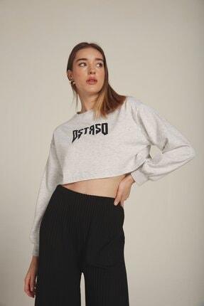 Eka Kadın  Bej Dstrso Baskılı Bisiklet Yaka Crop Sweatshirt