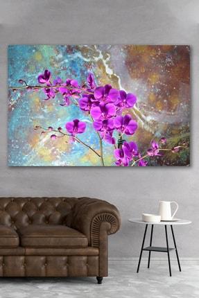 Hediyeler Kapında Mor Orkide Kanvas Duvar Tablo 90x130
