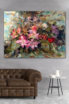 Hediyeler Kapında Yağlı Boya Görünümlü Çiçek Buketi Kanvas Tablo 90x130