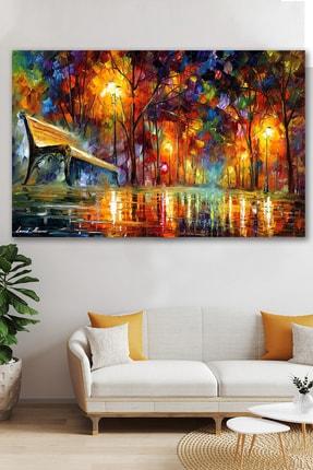 Hediyeler Kapında Sonbahar Yağlı Boya Görünümlü Kanvas Tablo 100x140