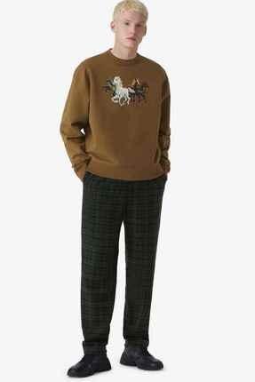 Kenzo Erkek Haki Horses Sweatshirt