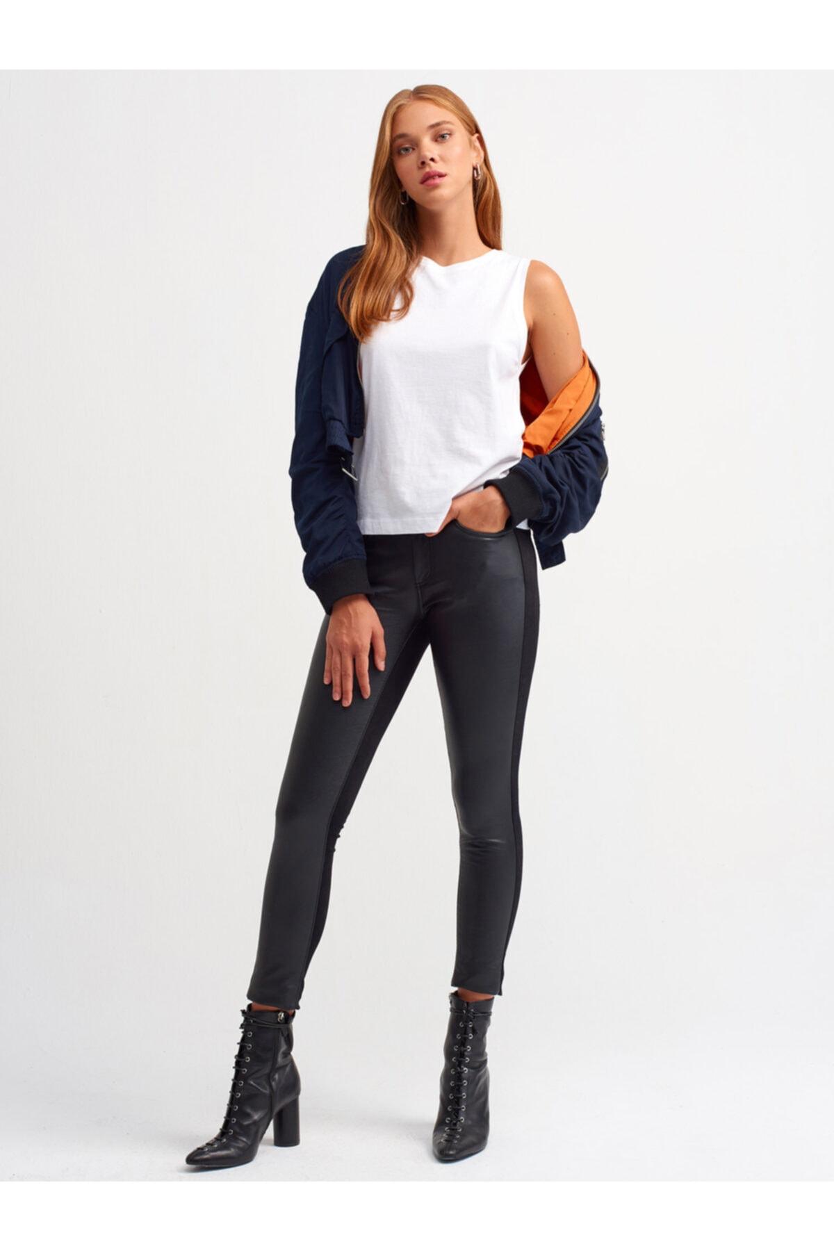 Dilvin Kadın Siyah Önü Deri Dar Paça Pantolon 1
