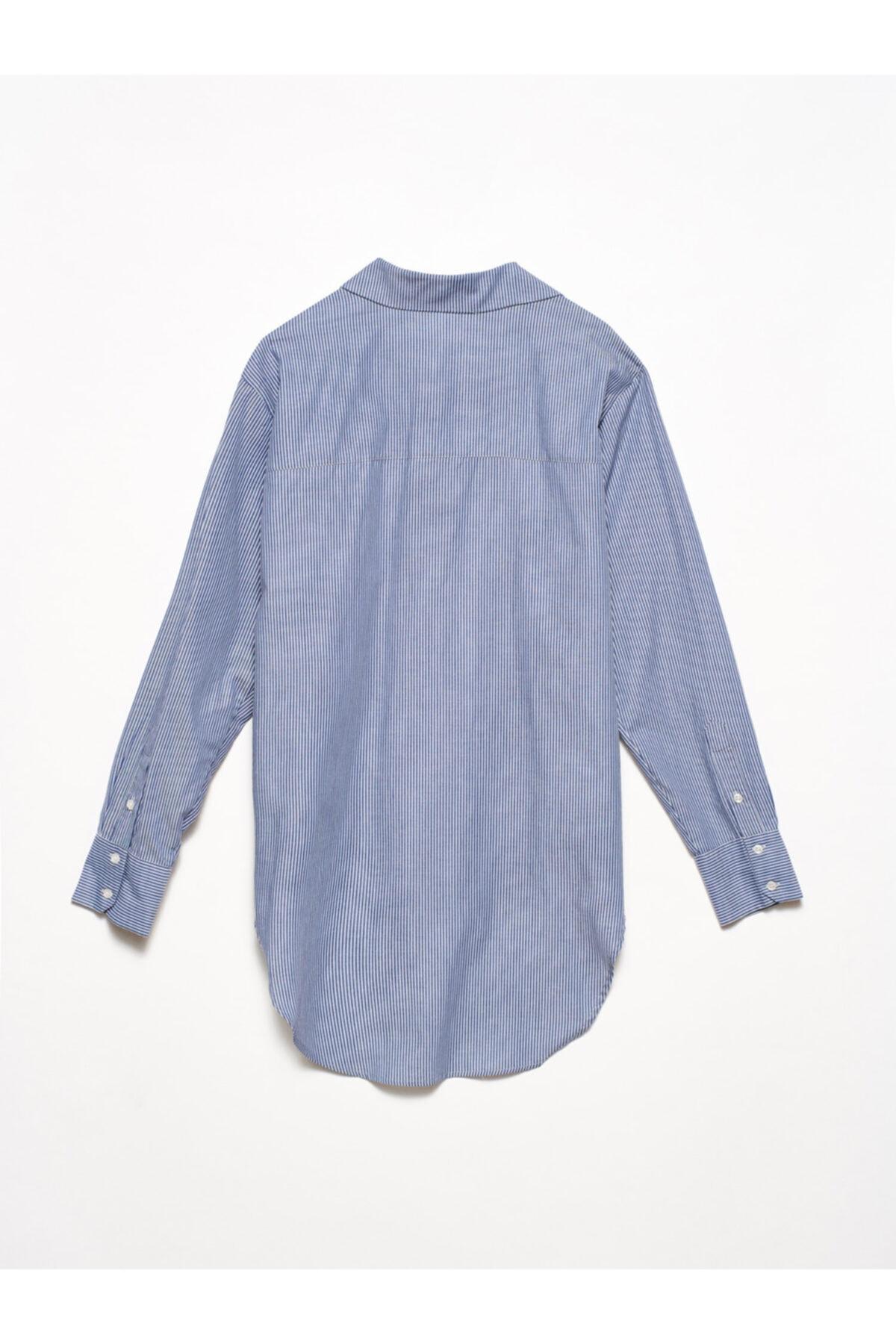 Dilvin Kadın Mavi 5202 Arkası Uzun Klasik Gömlek 103A05202 2