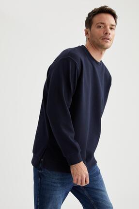 DeFacto Erkek Lacivert Oversize Fit Bisiklet Yaka Basic Sweatshirt