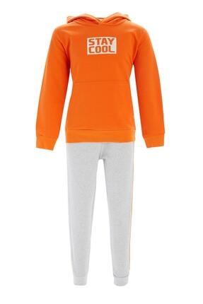 DeFacto Fit Erkek Çocuk Turuncu Kapüşonlu Sweatshirt Ve Jogger Eşofman Takım