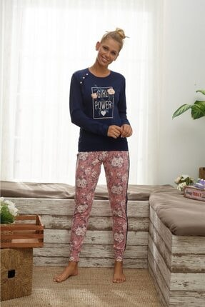 İPEKTENİM TEKSTİL Kadın Lacivert Pijama Takımı