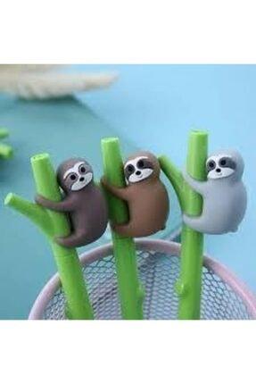 sofun Sevimli Tembel Hayvan Figürlü Bambu Şekilli Iğne Uçlu Jel Kalem