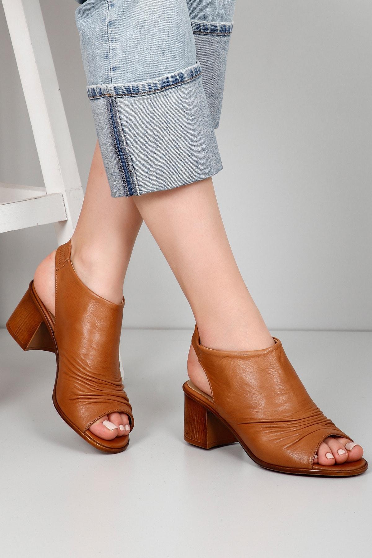 GÖN DERİ(R) Kadın Kahverengi Hakiki Deri Sandalet 45619 1