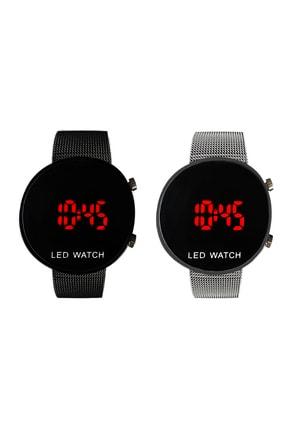 TAKIŞTIR Antrasit Renk Hasır Kordonlu Unisex Dijital Saat + Gümüş Renk Hasır Kordonlu Unisex Dijital Saat