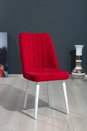 MYMASSA Polo Sandalye Kırmızı Düz Renk Kumaş - Ahşap Beyaz Ayaklı