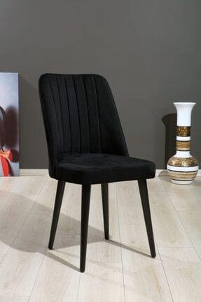 MYMASSA Polo Sandalye Siyah Düz Renk Kumaş - Ahşap Siyah Ayaklı