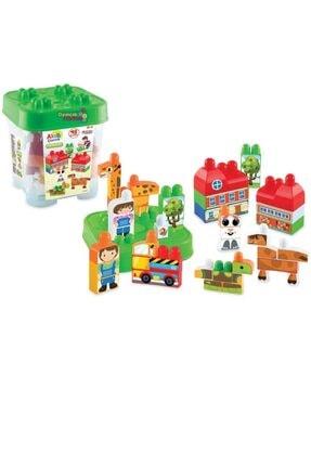 Dede Oyuncak Dede Akıllı Çocuk Lego 48 Parça Bloklar Sevimli Hayvanlar Seti Kovalı Box